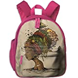 Africa Woman Hairstyle Double Zipper Waterproof Children Schoolbag With Front Pockets For Teens Boy Girl