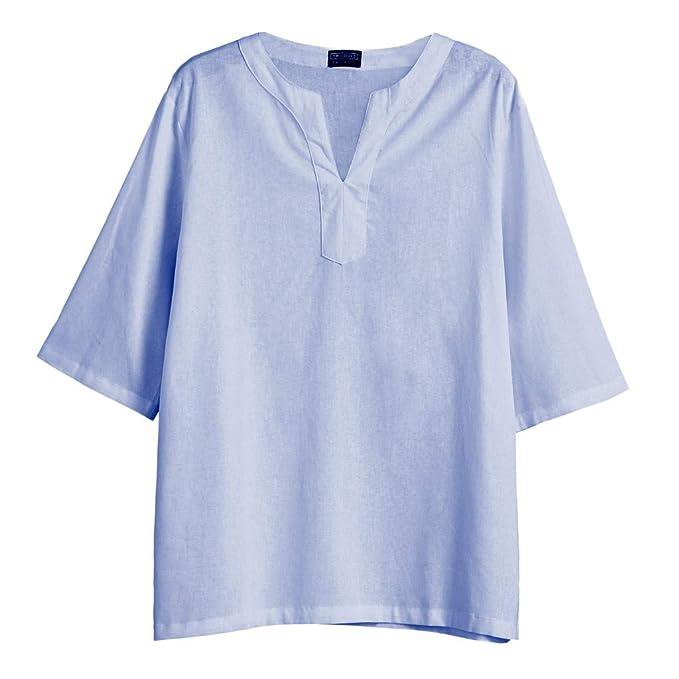 7c6d99692f ZARLLE-Camisa Blusa Hombre Lino Tradicionales para Hombres Manga Corta con  Cuello Casual Blusa Suelta Camisetas Sueltas Cool Juego Top Adolescent  Deportivas ...