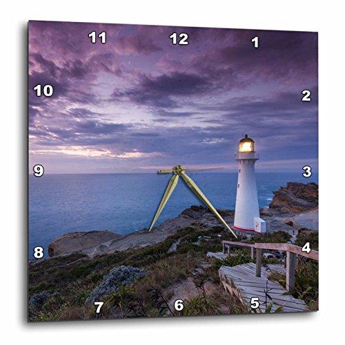 3dRose Danita Delimont - Lighthouses - New Zealand, Castlepoint. Castlepoint Lighthouse looks out over ocean. - 13x13 Wall Clock (dpp_277158_2)
