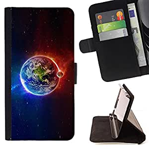 DEVIL CASE - FOR Samsung Galaxy Note 4 IV - Planet Earth Iridescent Magnetic Cosmos - Style PU Leather Case Wallet Flip Stand Flap Closure Cover