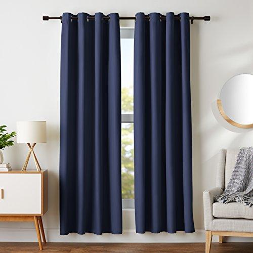 "Room-Darkening Blackout Curtain Set with Grommets - 52"" x 84"", Navy"