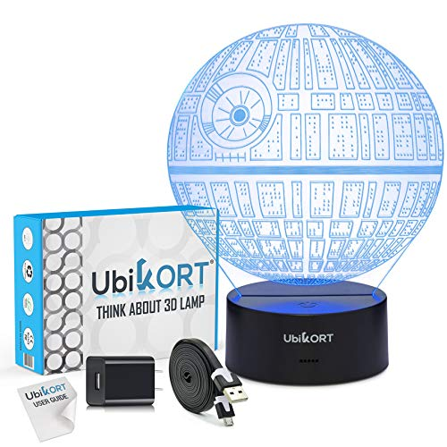 UBIKORT 3D Lamp Illusion Death Star Night Light Great Gift for Children and Adults, 7 Colors, Bedroom Decoration for a Star Wars Fans [Upgrade Version]