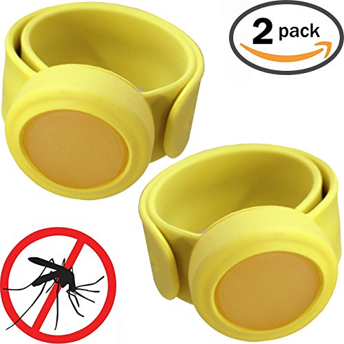Baby Bug Spray - Mozgone Insect Repellent Snap Bracelets (2 Pack) No Deet or Chemicals, All Natural Citronella, Mosquito Protection Wristband - No Baby Bug Sprays or Crib Nets (Yellow)