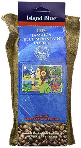 Blue Mountain Ground Coffee (Island Blue (16oz) -100% Jamaica Blue Mountain Ground Coffee (16oz))