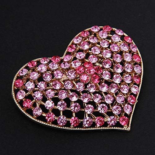 (Gorgeous Crystal Rhinestone Love Hearts Brooch Pin Jewelry Accessories (Color - Pink))