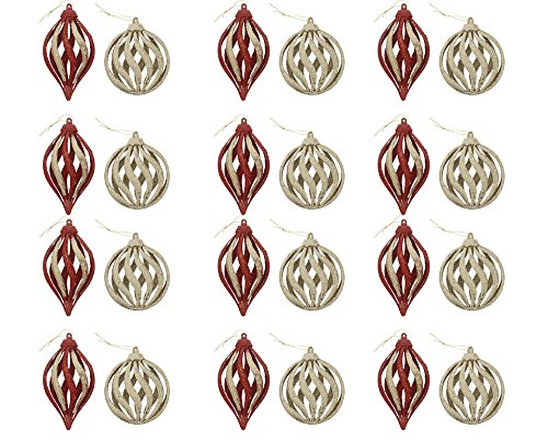 Elegant Fancy Sparkling Shimmering Christmas Holiday Spiral Ornaments, Gold & Red, Medium, Pack of 12, 4.5