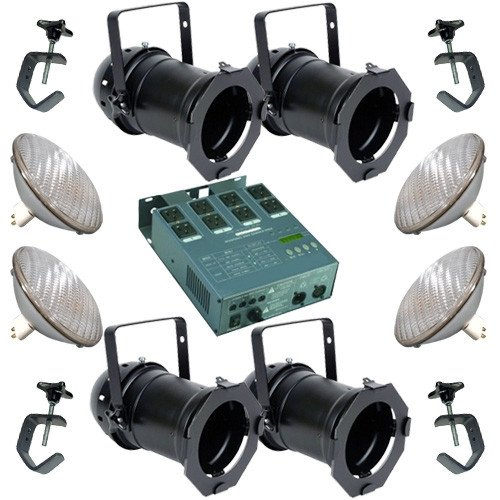 4 Black PAR CAN 56 300w PAR56 NSP Dimmer C-Clamp (Par56 Nsp Dimmer C-clamp)