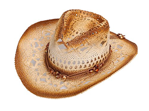 Simplicity Unisex Roll Up Western Straw Cowboy Cowgirl Hat w/Leather Band Beige