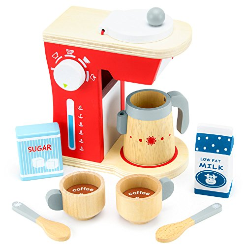 Wood Eats! Good Mornings Coffee Maker Playset with Milk and Sugar (10pcs.) by Imagination - Coffee Maker Set Play