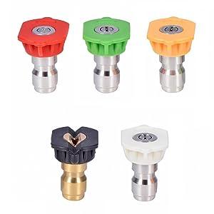 Prince Mark Pressure Washer Spray Nozzle Tips Multiple Degrees, 1/4 INCH (2.5GMP)
