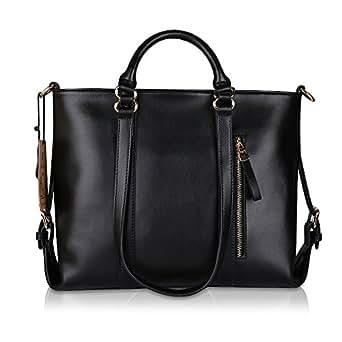 Kattee Urban Style 3-Way Women's Genuine Leather Shoulder Tote Bag, Black
