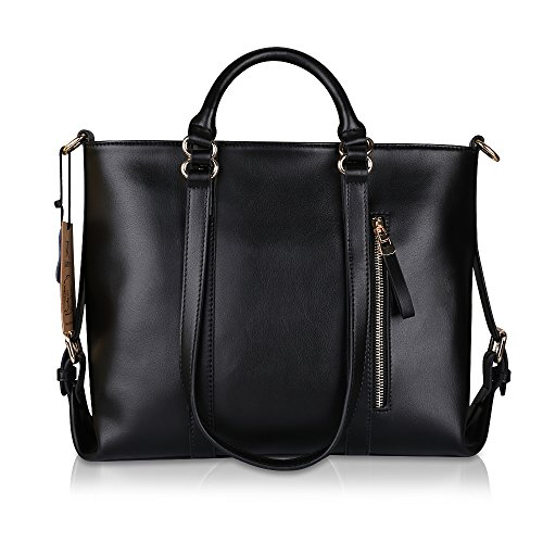 Kattee Urban Style 3-Way Women's Genuine Leather Shoulder Tote Bag, Black