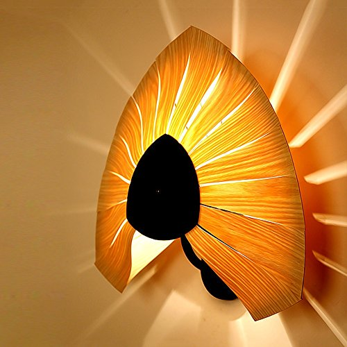 Creative thin Wood Wall Lamp Pumpkin shape Sector Veneer wall Lights Hand knitting process Iron paper base Teahouse balcony corridor yard lamp Bedroom Wall Light (wood) ( Design : D )