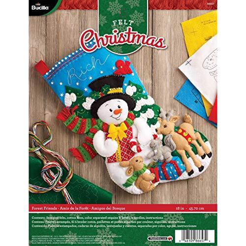 Bucilla 18-Inch Christmas Stocking Felt Applique Kit, 86657 Forest Friends