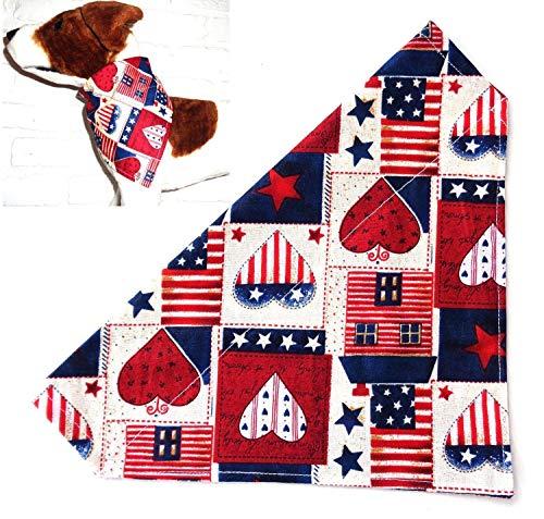 Red White and Blue Stars Hearts Patriotic Print Dog Bandana, Over the Collar Thread Through Slip Thru Dog Bib Doo Rag