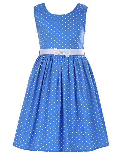 (PrinceSasa Elegant Girl Clothes Cotton Floral Sundresses Blue Wave Dress for Women,f1B,60''/12-13 Years(Size)