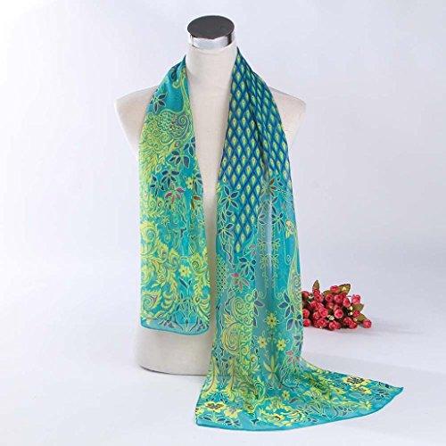 Leewa Hot Sale ! Women Peacock Pattern Soft Chiffon Shawl Wraps Scarf (158 x 50cm, Green)