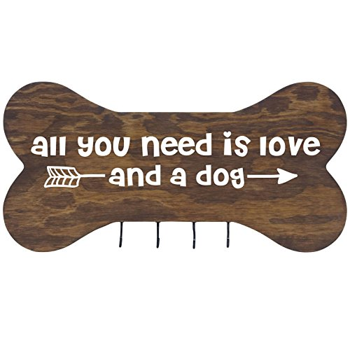 "Rooms Organized Rustic All You Need Wall Mounted Dog Bone Pet Leash Rack, Dog Collar Holder New Home Decor Gift Ideas and 4 Hooks 16"" L x 8"" H 2.5."" deep (Walnut)"