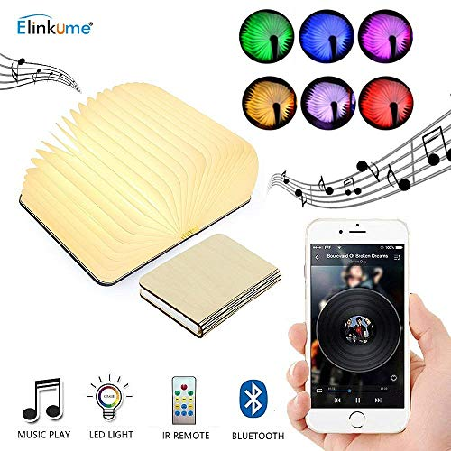 Wooden Folding LED Book Light - USB Rechargeable Book Shaped Light with Bluetooth Speaker, Colorful Dimming, Timing Device, Unique Decorative Table Lamp (Remote Control Included)