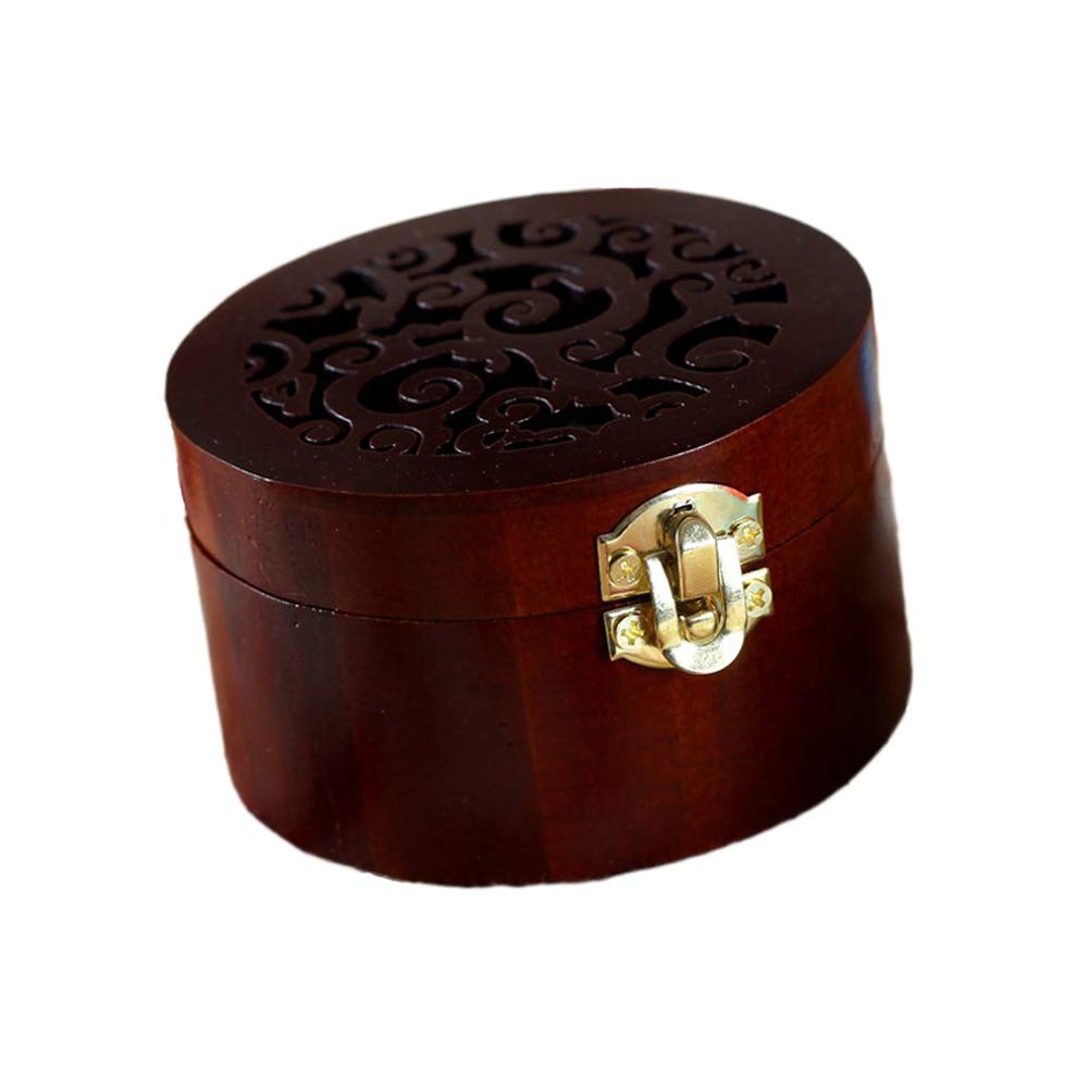 ColorSpring Wooden Music Box Vintage Wood Carved Mechanism Round Musical Box for Girls Gift