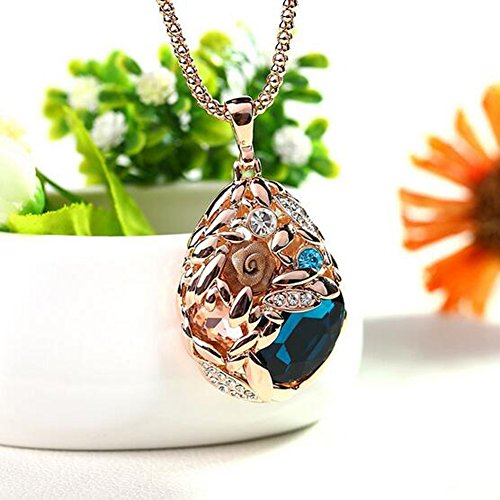 er Chain Necklace Wheat Korean Jewelry Retro Fashion National Style Pendant(Blue) ()