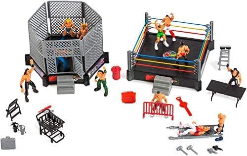 Ultimate 32-Pieces Kids Wrestling Playset WWE Wrestler Warriors Toys /& 2 Rings