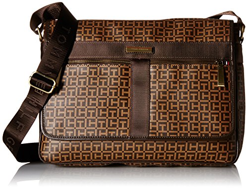 Tommy Hilfiger Darren Signature Flap Messenger Bag, Tan/Java, One Size by Tommy Hilfiger