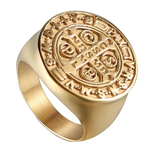 UNAPHYO Men's Stainless Steel St Benedict Exorcism Ring Catholic Cross Medal Gold Plated Size 10