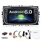 2G 32G 7 Inch Quad Core Android 6.0 HD 1024x600 Double 2 Din In Dash Radio Multimedia Receiver Touch Screen with Bluetooth & Built-in USB Port (Black/Silver) For FORD/Focus/S-MAX/Mondeo/C-MAX/Galaxy