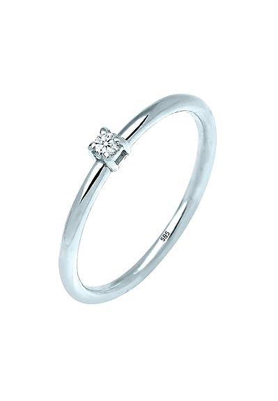 d49d9ed1bbee Diamore Anillo de compromiso solitario Mujer oro blanco 14 k (585) diamante  redonda  Amazon.es  Joyería