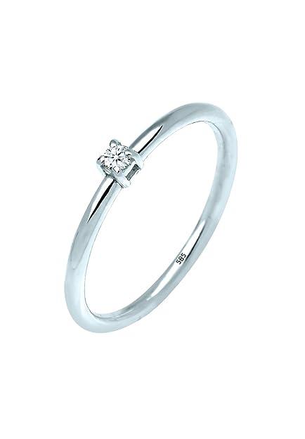 Diamore Anillo de compromiso solitario Mujer oro blanco 14 k (585) diamante redonda