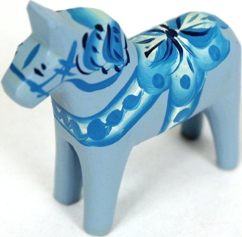 Traditional Wooden Swedish Dala Horse - Light Blue 2