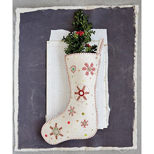 Creative Co-op White Wool Christmas Stocking with Red and Green Embroidered Snowflakes (Ideas Mantel Christmas Pinterest)
