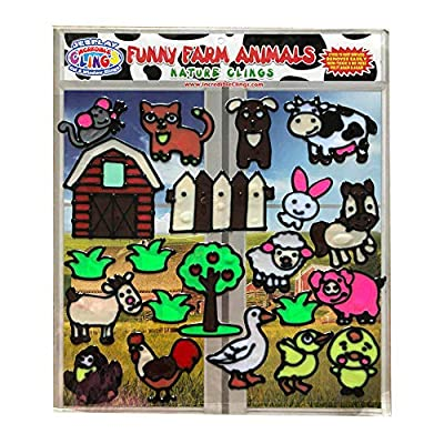 Funny Farm Animal Flexible Gel Clings - Glass Window Clings for Kids and Toddlers - Removable Reusable Gel Decals for Home, Airplane, Classroom, Nursery Decoration - Rooster, Chicks, Pig, Cow and More