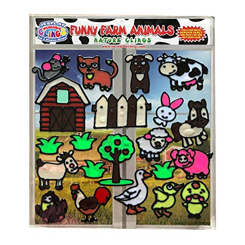 Funny Farm Animal Flexible Gel Clings - Glass Window Clings for Kids and Toddlers - Removable Reusable Gel Decals for Home, Airplane, Classroom, Nursery Decoration - Rooster, Chicks, Pig, Cow - Animal Gel
