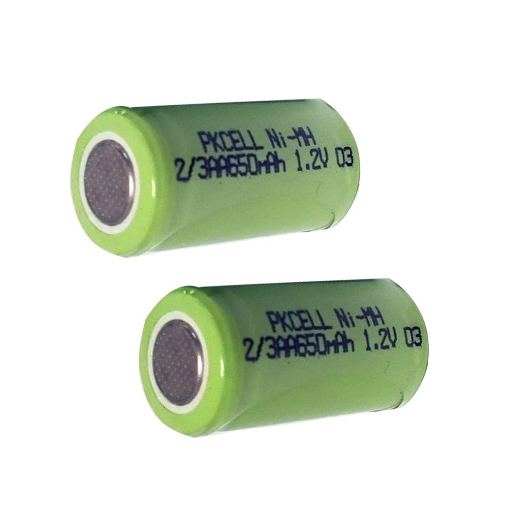 Rechargeable Nimh Battery 2/3 AA 650mah 1.2V Battery with Flat top 10pcs PKCELL
