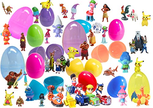 24 Toy Filled Easter Eggs With Cute Plastic Figurines - Featuring Your Favorite Friends From My Little Pony, Paw Patrol, Pokemon, Zootopia - Easy To Open, Tough To Break - Perfect For Easter Egg Hunts