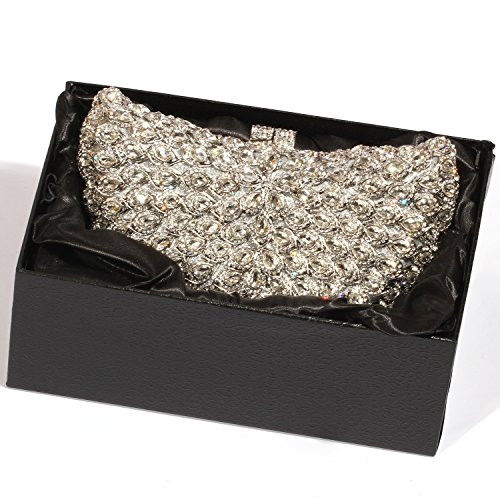 Wings Evening Purses Big Clutch women Bags Digabi Crystal Silver Rhinestone wEqPnvqxC1