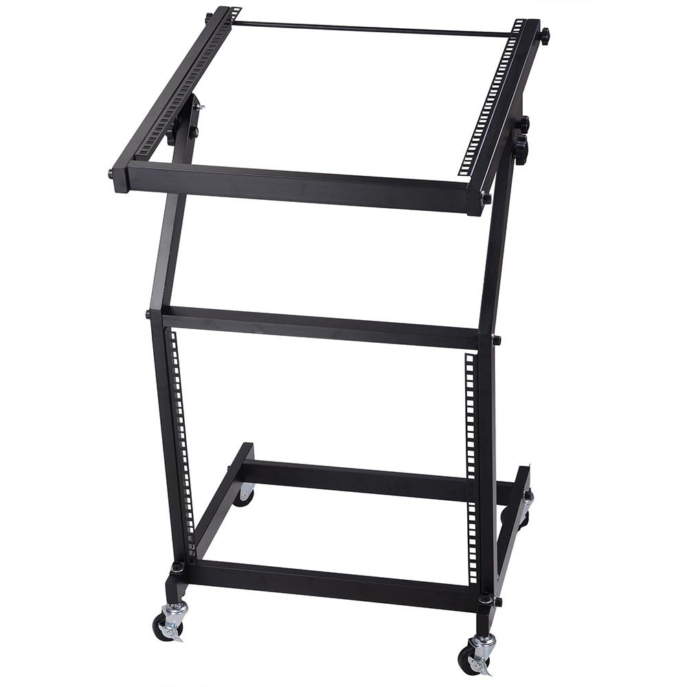 AW DJ Rack Mount Studio Mixer Stand Stage Cart w/Wheel Adjustable Music Equipment Party Show 9UX AW-MCS000002