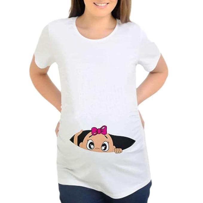 BBsmile ropa premamá 2018 camisetas mujer originales mangaImpresión Embarazadas Enfermería informal Blusa Bebé For Maternity camiseta tops: Amazon.es: Ropa ...