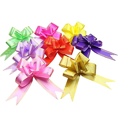 Lysee10pcs/lot DIY Wedding Car Sheer Garland Pull Bows Gift Ribbon Butterfly Hand Flower Garland for Party Festival Gift Accessories - (Color: Random Color)