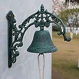 GLJJQMY Wrought Iron doorbell European Classical Style Retro Iron Bell cast Iron doorbell Villa doorbell 27x11x26.5cm etro doorbell