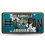 NFL Jacksonville Jaguars Bling #1 Fan Metal Auto Tag Plate, 12 x 6-Inch, Silver