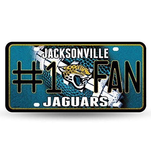 NFL Jacksonville Jaguars Bling #1 Fan Metal Auto Tag Plate, 12 x 6-Inch, Silver (Plate Jaguars Jacksonville)