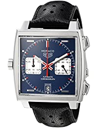 Men's 'Monaco' Swiss Automatic Stainless Steel and Leather Dress Watch, Color:Black (Model: CAW211P.FC6356)