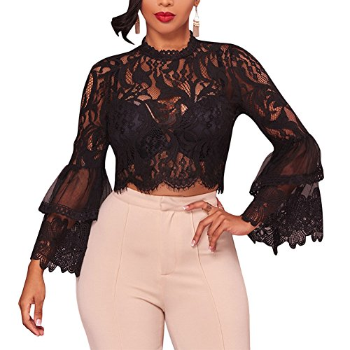 Joseph Costume Women's Sexy Lace Bell Sleeve Mock Neck See Through Mesh Fitted Crop Top Blouses Black S