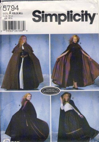 Simplicity Sewing Pattern 5794 - Use to Make - Misses Capes 3 Styles - Sizes XS to -
