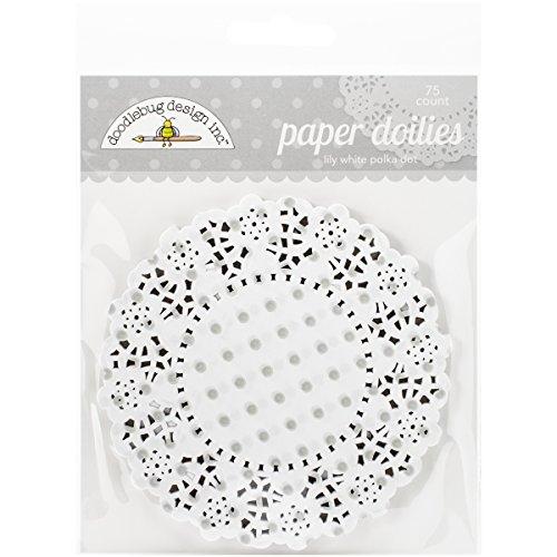 Doodlebug Doilies, 4.5-Inch, Lily White Polka Dot, 75-Pack - Lily White Doodlebug