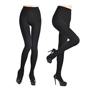 3baf5fa3898520 Fleece Lined Tights for Women Ladies 2Pairs Winter Warm Pants 3Colors  Elstic High Waist Velvet Tights at Amazon Women's Clothing store: