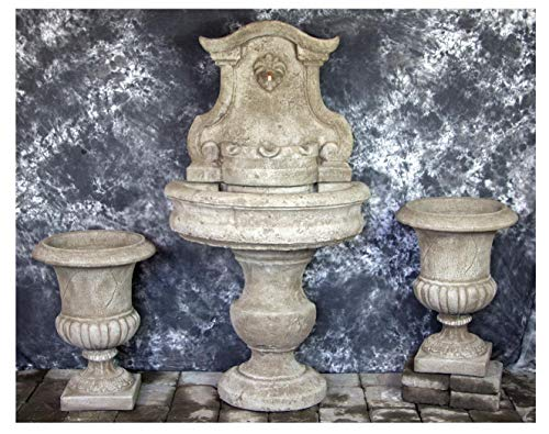 Fleur de Lis Garden Ornaments LLC Palermo Wall Fountain with Italian Palazzo Urns Package # - Palazzo Urn
